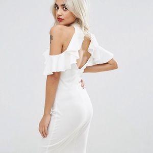 Asos White Bodycon Cold Shoulder Dress